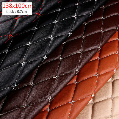 $34.36 • Buy Thick Faux Leather Fabric Sponge Quilted Embroidered Car Interior Material Trims