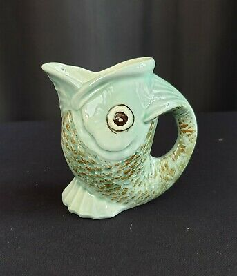 Small Unmarked Pottery Ceramic Gurgling Fish Vase Green 9 Cm Tall • 4£