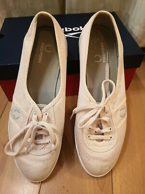 Fred Perry Kingston Twill Plimsolls Trainers Pumps Casual Shoes Pink. Size 7. • 5£