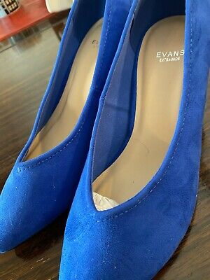 ** Beautiful New Blue Suede Evans Extra Wide Fit Ladies Shoes Size 6 ** • 4.70£