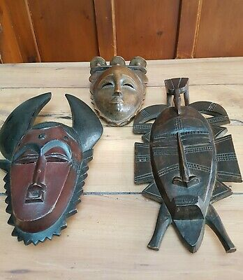 Set Of 3 African Carved Wooden Masks. 2 Are 41 X 28 Cm, The Other Is 36 X 21 Cm • 9.99£