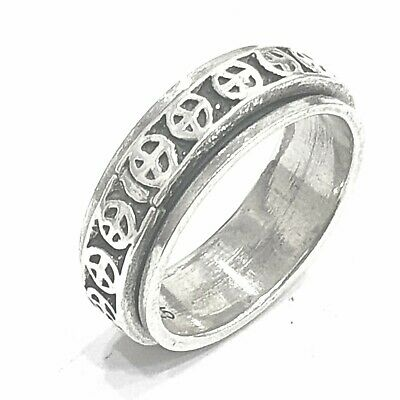 925 Sterling Silver Solid Plain Spinning Peace Symbol Thumbs Ladies & Men Ring • 29.40£