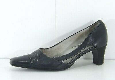 EQUITY Retro 90s Navy REAL LEATHER Ladies Court Shoes Size UK 6.5 EUR 40 • 6.99£