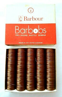 Barbour Barbobs Pre-Wound Shuttle Bobbins Pack 50 X BROWN 870 Style B 44 MTRS.. • 15£