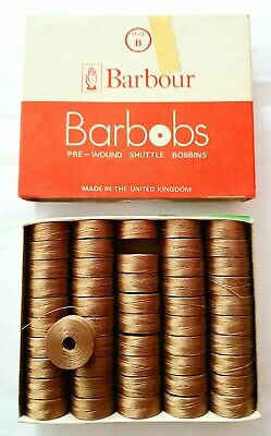 Barbour Barbobs Pre-Wound Shuttle Bobbins Pack 50 X BEIGE 2773 Style B 44 MTRS.. • 15£