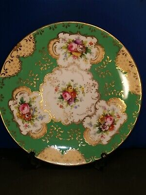 ANTIQUE 19th MINTON HAND PAINTED DECORATIVE CABINET PLATE GREEN&GOLD FLOWERS #1 • 22.99£