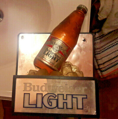 $ CDN79.42 • Buy Vintage Budweiser Light Beer Bottle Ice Cube 3D Lighted Bar Sign (works)
