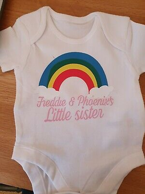 Little Brother Or Sister Personalised Rainbow  BABY VEST Bodysuit Grow Baby • 4.60£
