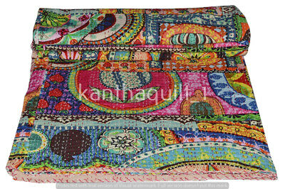 Kantha Blanket Bedspread Indian Handmade Quilt Throw Cotton Ralli Gudari Quilts • 24.55£