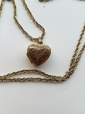 9ct Solid Gold Heart Shaped Locket With A 9ct 30 Inch Long Chain • 97£