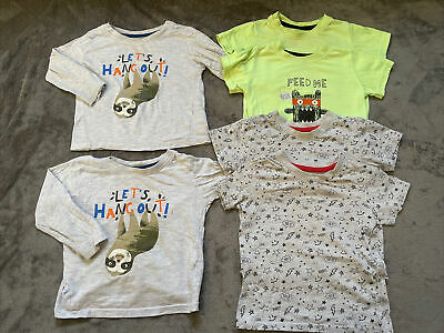 Twin Boy Clothes Tops Bundle 12-18 Months Tshirts Long Sleeve Primark • 4.99£
