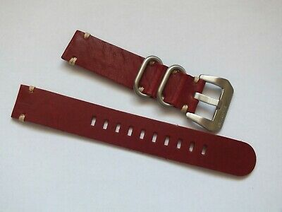 Genuine Leather Zuludiver Military Watch Strap 20mm Cherry Red • 3.99£