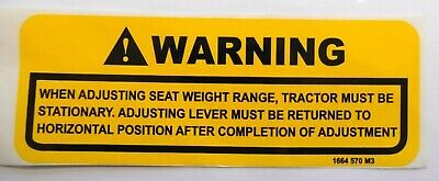 £3.95 • Buy SEEAT ADJUSTMENT DECAL; FOR MASSEY FERGUSON TRACTORS (various, See Listing)