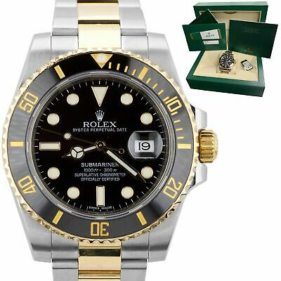 $ CDN18187.72 • Buy 2015 MINT Rolex Submariner Ceramic 116613 LN Two-Tone Gold Black Dive Watch