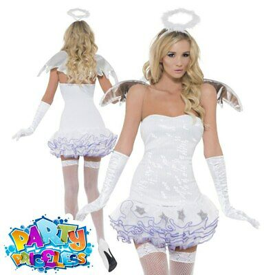£19.99 • Buy Adult Fever Angel Sequin Costume Gabriel Christmas Xmas Fancy Dress Outfit
