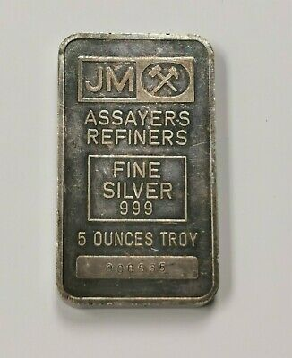 $ CDN229.95 • Buy Johnson Matthey 999 Fine Silver 5 Oz Silver Bar, Serial #: 008565 - Toned
