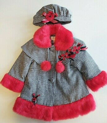 £40 • Buy Girls Couche Tot Coat Houndstooth Red Faux Fur Trim  & Hat 12m-6 Years Spanish