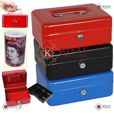 Metal Cash Box Money Steel Tin Security Safe Petty Key Lockable 5 Sizes 3 Colour • 8.99£