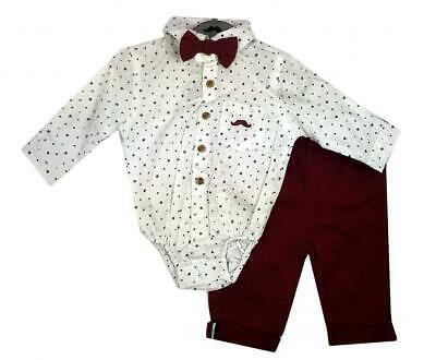 £16.95 • Buy Baby Boys Little Gent Formal Outfit Stars Bodysuit Shirt Bow Tie & Trousers Wine