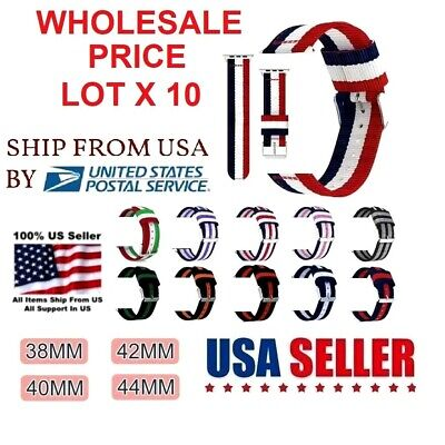 AU54.40 • Buy LOT 10 NYLON Band Strap For Apple Watch IWatch 38/42/40/44m ADJUSTABLE LENGHT