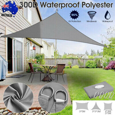 AU34.67 • Buy 5X5m Extra Heavy Duty Shade Sail Shade Cloth Sun Triangle Square Rectangle AU