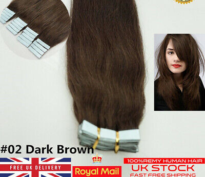8A* Quality 16  Tape In Premium Russian Remy Human Hair Extensions 1st #02 • 16.99£