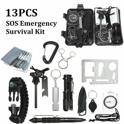 13 In 1 Emergency Equipment Box SOS Gear Kit Set Tool Outdoor Camping Survival • 16.99£