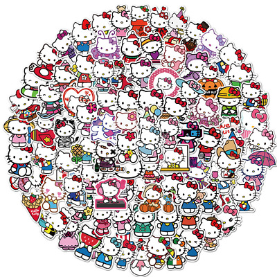 5pcs/Lot Sticker Vinyl Cartoon Hello Kitty Stickers Laptop Sticker Decal Fridge • 1.60£