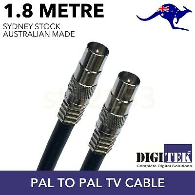AU8.95 • Buy TV Antenna Cable PAL Male To Male Aerial Flylead Coax RG6 Quad Shield Black 1.8m