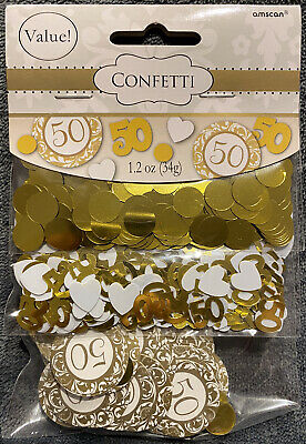34g Confetti Gold And White 50 Party Decorations New Table Supplies • 1.50£