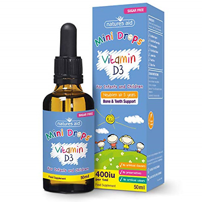 Natures Aid Vitamin D3 Mini Drops For Infants And Children, Sugar Free, 50 Ml • 7.01£