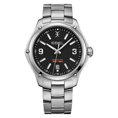 EBEL 41mm Stainless Steel Black Dial Discovery SWISS Quartz Luxuery Watch 121640 • 440.62£