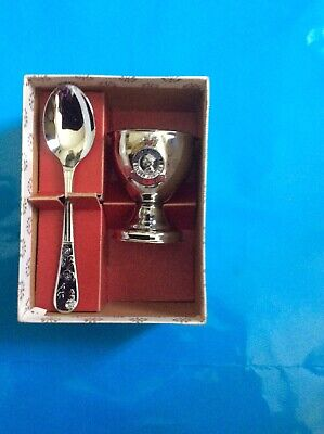 1977 Silver Jubilee Spoon And Egg Cup. Boxed. Some Fading To Box. • 0.99£