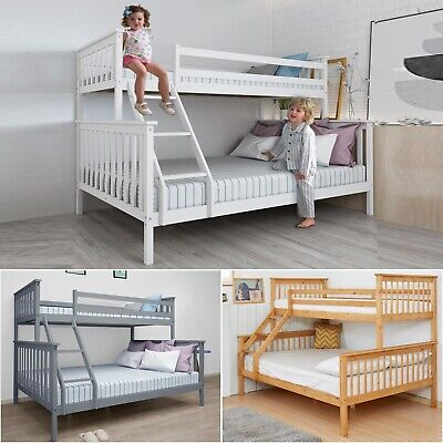 Triple Bunk Bed 3FT Single 4FT6 Double Bed Frame Kids Bed Children Adult Sleeper • 229.99£