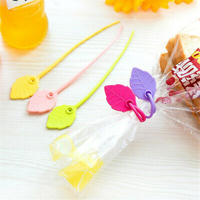 Wire Clamp Snack Ties Home Silicone Sealing Leave Shape Bag Clip Food Storage • 2.31£