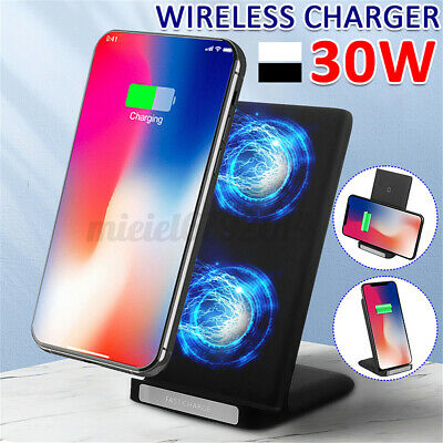 $ CDN14.97 • Buy 30W Qi Wireless Fast Charger Stand Charging Dock For IPhone 8 X 11 12 Series