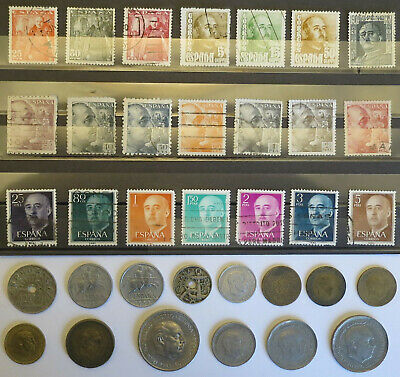 Spanish Currency. 14 Coins & 21 Stamps. General Franco. All Different. Spain • 11.99£