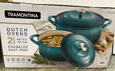 $ CDN129.36 • Buy Tramontina Enameled Cast Iron Round  Dutch Oven 2 Pans - 7 Quart & 4 Quart Teal