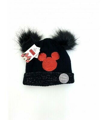 £5.99 • Buy Girls Minnie Mouse Reversible Sequin Winter Thermal Beanie Hat Black Pom Pom