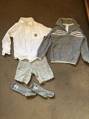 Boys Tutto Piccolo Age 3 (36) Grey White Shirt Short Jumper Suit Socks Christmas • 10.50£
