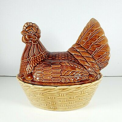 BESWICK England Ceramic Brown & Cream Egg Storage Chicken/Hen & Basket Vintage • 28.95£