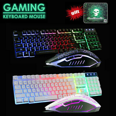 AU19.99 • Buy T6 USB Gaming Keyboard And Mouse Combo For PC Laptop Rainbow Backlight Ergonomic