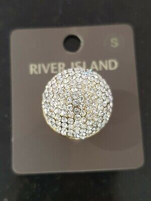 River Island Diamonte Domed Gold Costume Jewellery RING SMALL • 2.95£