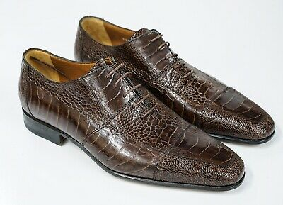 New In Box Moreschi Men's Ostrich Brown Lace Up Shoe 039419 - Size 5 Last Size • 220.25£