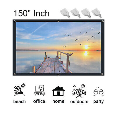 AU13.79 • Buy Portable 150''The New Projector Screen 16:9 Home Cinema Theater Diagonal Hook