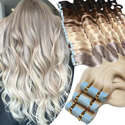 Blonde Russian Human Hair Extensions Tape In Skin Weft Super Glue 200G Full Head • 14.99£