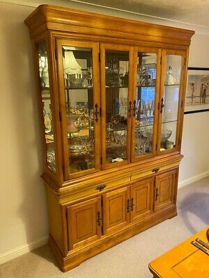 Wood Glass Drinks Display Dining Cabinet Dresser Sideboard Cupboard • 100£