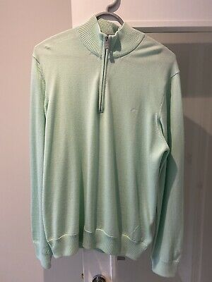 J Lindeberg Men's Kian Merino Wool Zip Knit Sweater - Size XL • 50£