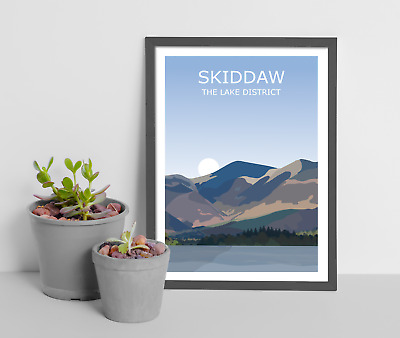 Skiddaw Art Print,The Lake District National Park Landscape, Keswick Fell Hike • 9.99£