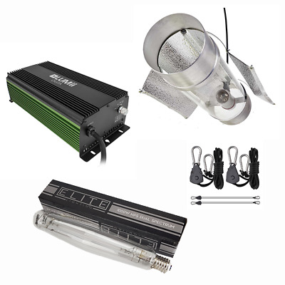 Grow Light 1000W LUMii Dimmable Ballast 8  Coolwing Reflector Rope Ratchets • 215£